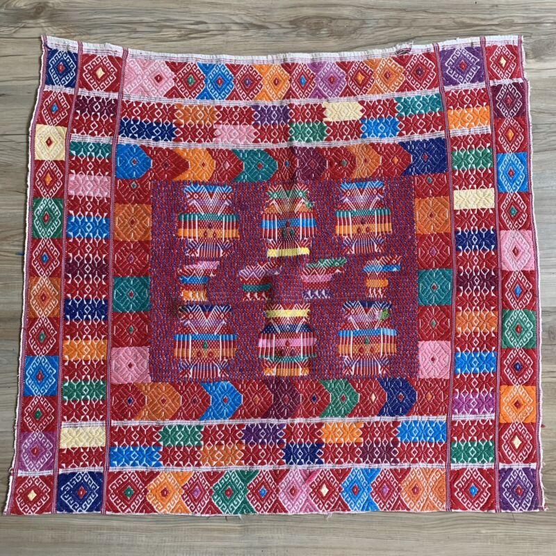 Vintage Guatemala Embroidered Handwoven Fabric