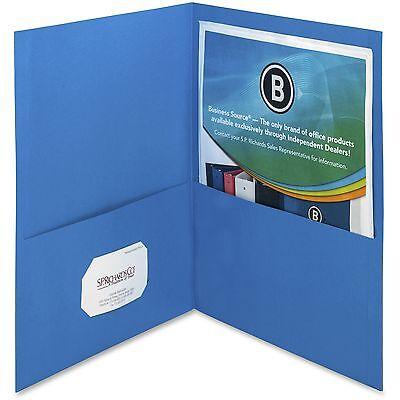 Business Source 2-pocket Folders 125 Sht Cap Letter 12x9 25bx L.blue 78491