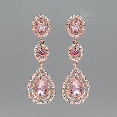 Pink Crystal Bead - ROSE GOLD Plated Pink Crystal Rhinestone Wedding Drop Dangle Earrings 9358 Prom