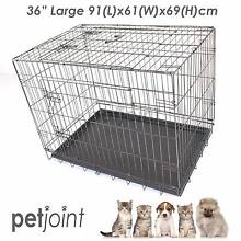 LARGE L Black Metal Cage Pet Dog Cat Puppy Kennel Crate PlayPen 3 Campbellfield Hume Area Preview
