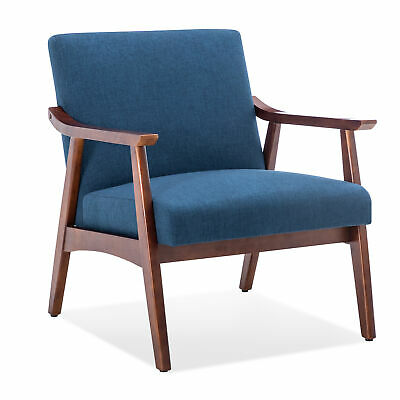 Modern Accent Armchair Solid Hardwood Upholstered Linen Lounge Chair, Navy Blue