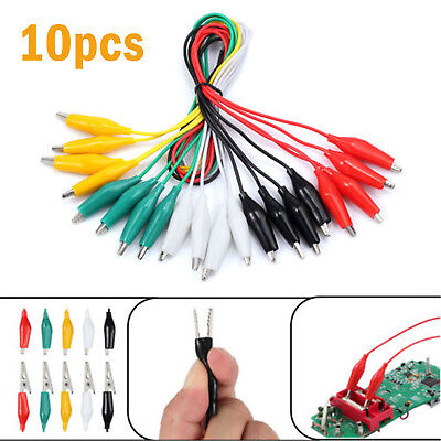 10pc 20 Double-ended Test Lead Alligator Clamp Crocodile Clip Jumper Wire Cable