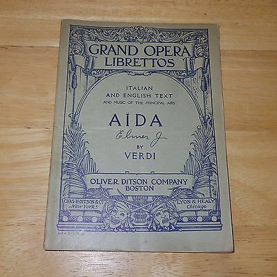 Vintage - Aida by Verdi - Grand Opera Librettos Italian/English Oliver Ditson Co