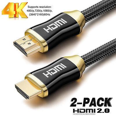 High Quality HDMI Cable v2.0 4K@60Hz 3D 2160P- HDTV LCD LED X BOX PS4 BLURAY Lot ()