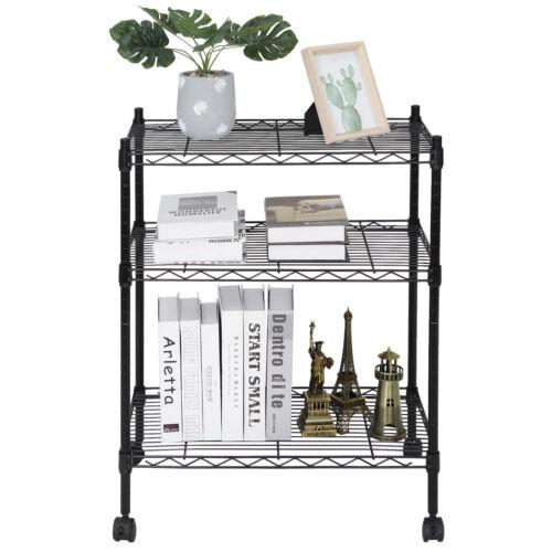 3-Shelf Shelving Storage Unit with 2″ Wheel Casters Metal Organizer Wire Rack Home & Garden