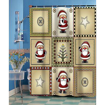 Americana Country Christmas Santa Fabric Shower -