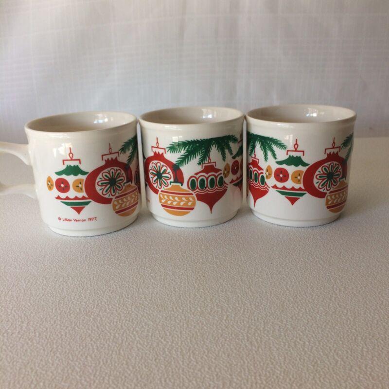 Lillian Vernon Christmas Ornament Graphic Lot 3 Coffee Tea Mugs Cups Holiday1977