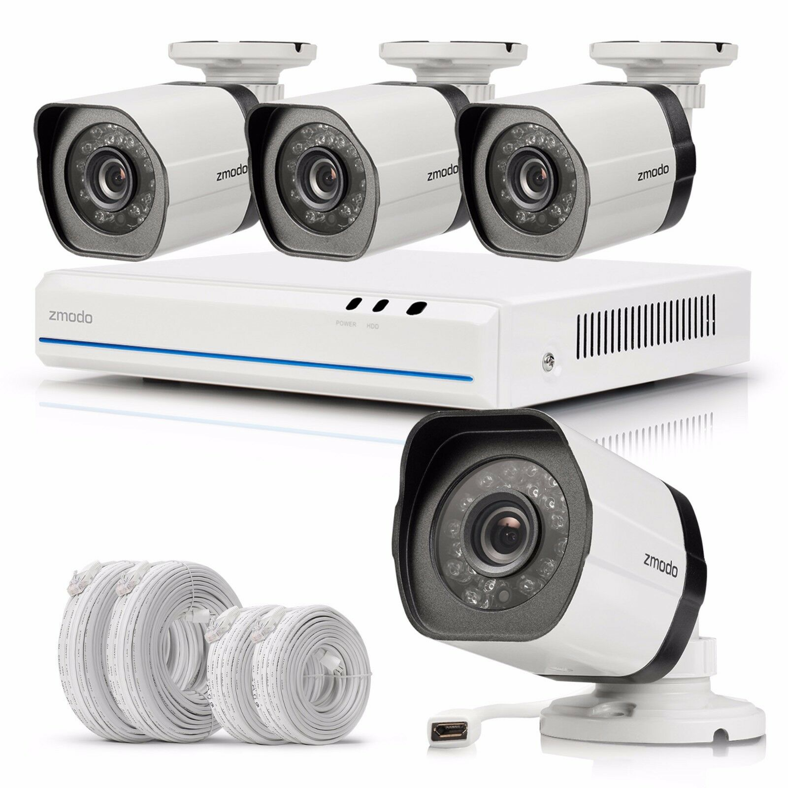Zmodo 4CH 1080p Simplified PoE NVR 720p IP Network Security Camera System No HDD
