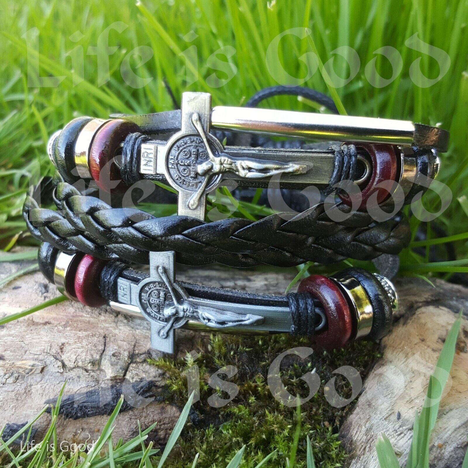 Bracelets for Men and Women Leather Braided Bangle Cross Bra