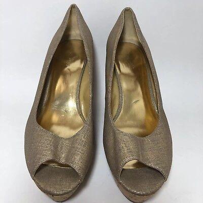 Nine West Wedge Gold Women's Shoes Size 10 Platform Heels - Platform Shoes Size 10