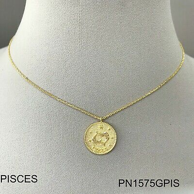 Gold Dipped Finished Hand Made Zodiac Sign PISCES Circle Coin Pendant Necklace ()