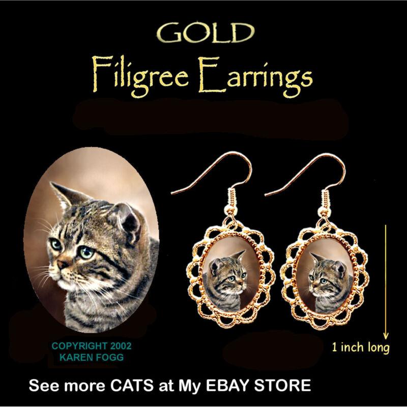 TABBY AMERICAN SHORTHAIR Striped Cat - GOLD FILIGREE EARRINGS Jewelry