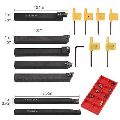 Set Of 7 Steel Boring Bar 10mm Shank Lathe Turning Tool Holder Carbide Inserts