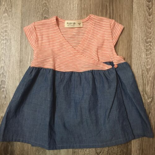 Play Up Portuguese Boutique Baby Girl Dress 3M 3 Month Size Stripe Denim EEUC