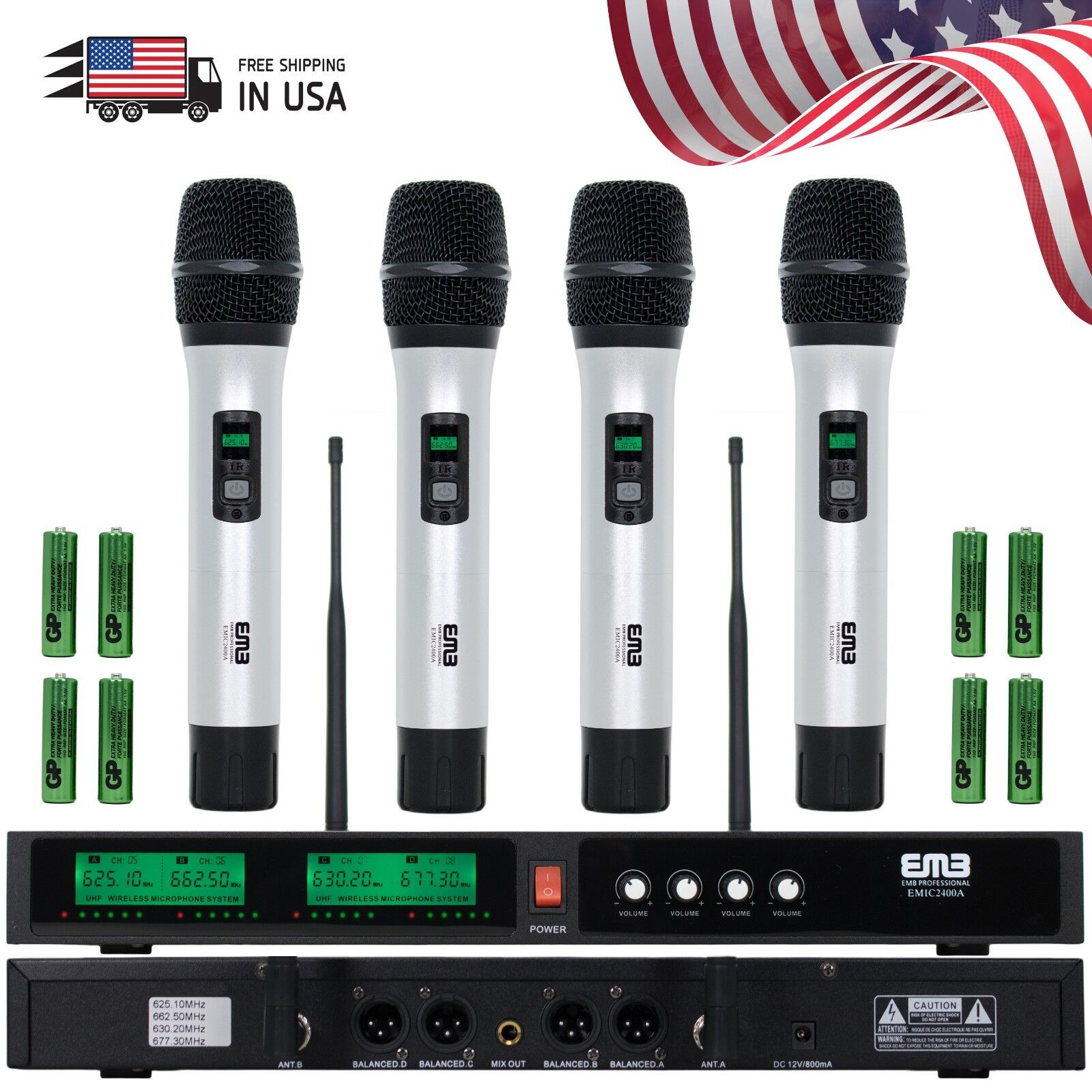 New EMB Audio 4 Channel Quad UHF Handheld Wireless Microphon