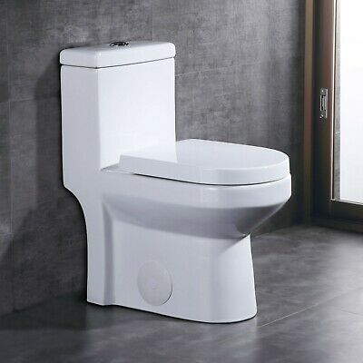 DeerValley Small Compact Dual Flush One-Piece Elongated Toilet for Water (Water Closet)