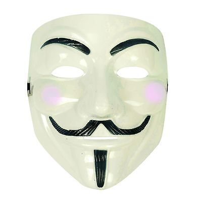 Unisex Anonymous Guy Fawkes Plot Halloween Fancy Dress Mask - Glow In The Dark - The Guy Fawkes Mask