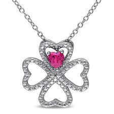 Sterling Silver Created Ruby Multi-Heart Pendant Necklace