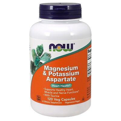 Magnesium 250 Capsules (NOW Foods Magnesium & Potassium Aspartate, 250/99 mg, 120 Veg Capsules )