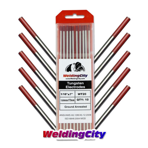 """10-pk TIG Welding Tungsten Electrode 2% Thoriated (Red) 1/16""""x7"""" US Seller Fast"""
