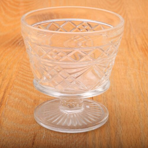 Vintage Clear Glass Diamond Pattern Sundae Dish Small Compote
