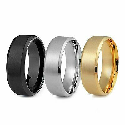 8MM Stainless Steel Men Women Wedding Engagement Black Gold Ring Band Size 6-12 Fashion Jewelry