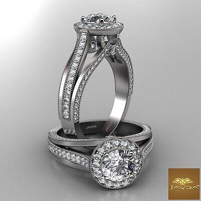 Halo Bezel Pave Setting Round Diamond Engagement GIA F VVS2 Milgrain Ring 1.61Ct