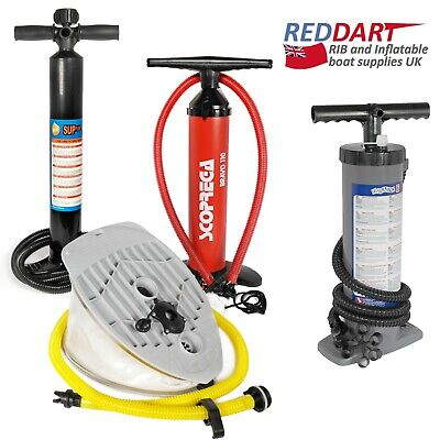 Inflatable Dinghy Boat Pump, SUP Kayak Hand, Foot, All Sizes, Bravo Adapters