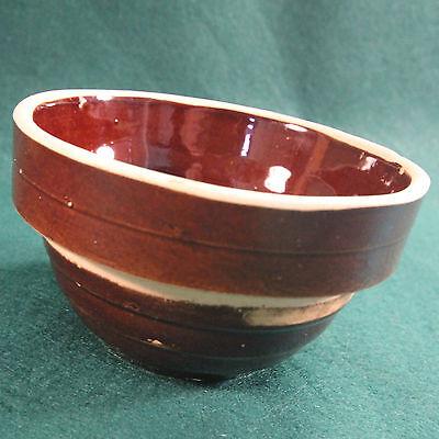 "5"" Vintage Brown Ribbed Yellow Ware USA Stoneware Mixing Bowl"