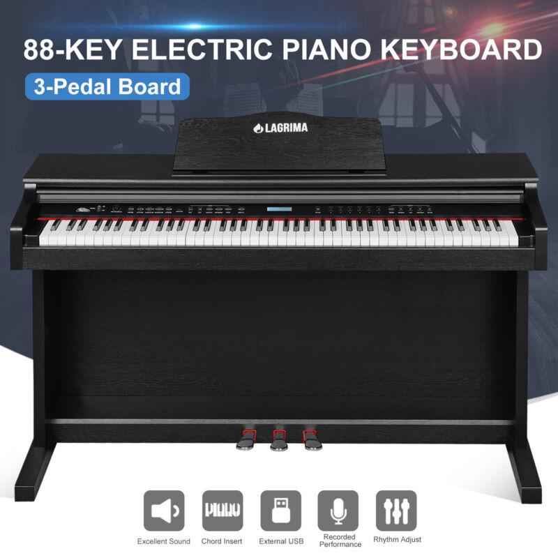 88 Key Music  Digital LCD Electric Piano Keyboard W/Stand+Adapter+3-Pedal Board