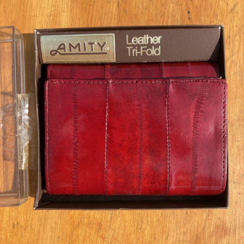Vintage Amity Eel Skin Leather Tri-fold Wallet NWT