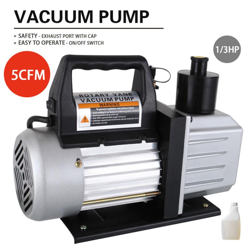 5 CFM 1/3HP Rotary Vane Deep Vacuum Pump 110V HVAC AC Refrigerant Charge Black