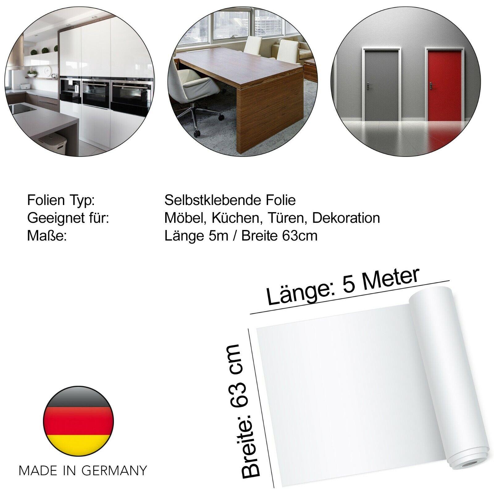 Möbelfolie 5,7€//m² selbstklebende Folie Klebefolie für Küchen /& Möbel Glanz Matt