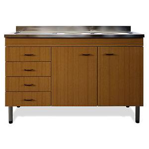 Mobile sotto lavello teak per cucina abbinabile a scola - Mobile con cassetti per cucina ...