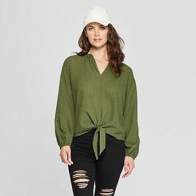 Womens Universal Thread Long Sleeve Green Plaid Tie Front Top Size Medium