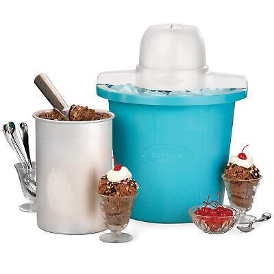 Electric Ice Cream Maker 4-Quart Frozen Yogurt Machine Bucket Freezer Home Made