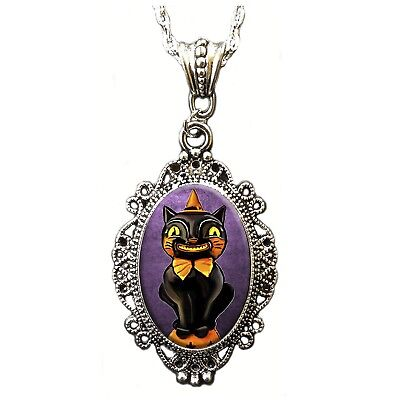 Black Cat Halloween Costume Jewelry Pin-up Retro Vintage Style Cameo Necklace