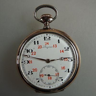Offene Herrentaschenuhr Longines Silber um 1905 - TOPZUSTAND (42945)