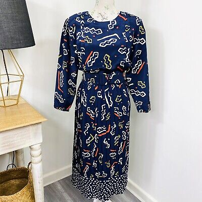 80s Dresses | Casual to Party Dresses Vintage 80s Tajura Womens Midi Dress Long Sleeve Belted Box Pleat Size 12 $30.92 AT vintagedancer.com