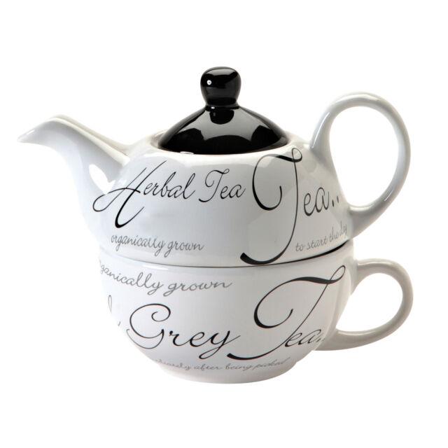 Price & Kensington Fine Stoneware Script White Tea For One