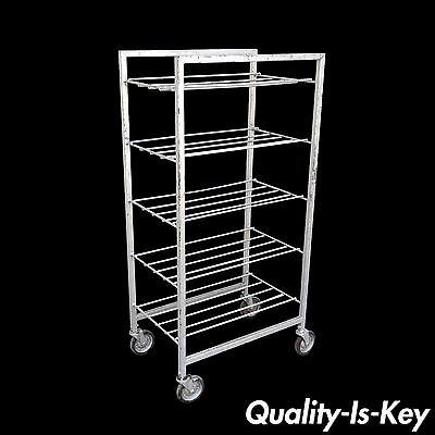Vintage Industrial Metal Rolling 5 Tier Bakery Bakers Cart Display Shelf Rack