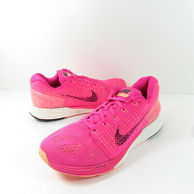 Nike Lunarglide 7 Womens Size 9.5 Pink Foil Black Running Shoes 747356-600