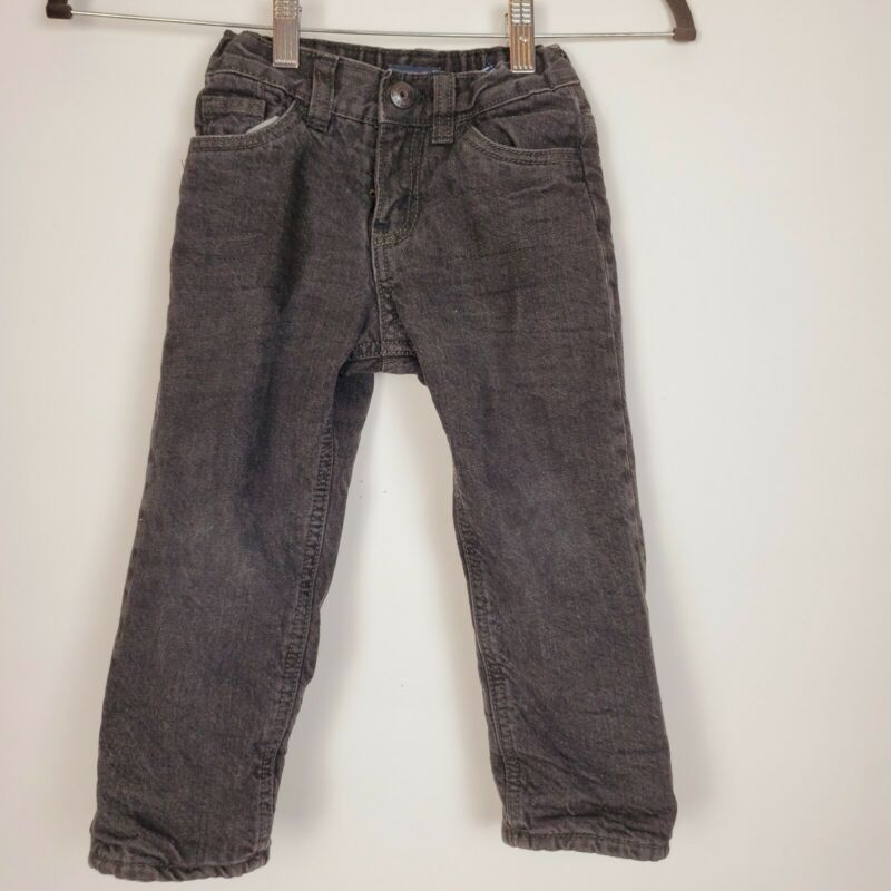 Oshkosh Boys Fleece Lined Black Jeans Size 2T Straight Jeans Warm Comfortable