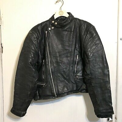 VINTAGE 80'S DISTRESSED LEATHER BRANDO MOTORCYCLE JACKET SIZE M