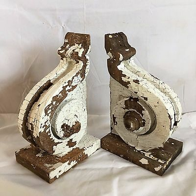 Antique Pair(2) 1890's Wood Corbels Brackets Victorian Gingerbread White 188-17