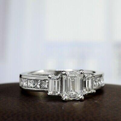 3.00 Ctw 3 Stone Emerald Cut Engagement Diamond Ring F, VVS1 GIA 14K White Gold 2