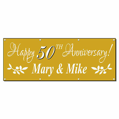 Happy 50 Anniversary Custom Date Gold 13 Oz Vinyl Banner Sign With - Happy Anniversary Signs