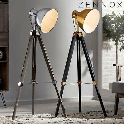 Zennox Tripod Studio Metal Floor Lamp Spotlight Vintage Wooden Light Decor NEW