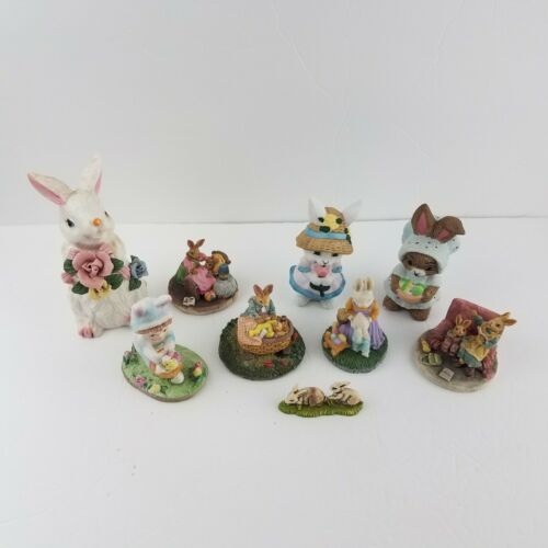 Vintage Rabbit Bunny Figurines Figures Lot Easter Ceramic Resin Collectible LOT