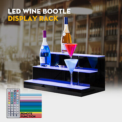 24 3 Step Tier Led Lighted Back Bar Glowing Liquor Bottle Display Shelf Stand